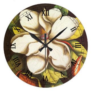 Vintage Magnolia Flowers Plant With Seeds Large Clock