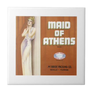 Vintage Maid of Athens Fruit Crate Label Tile