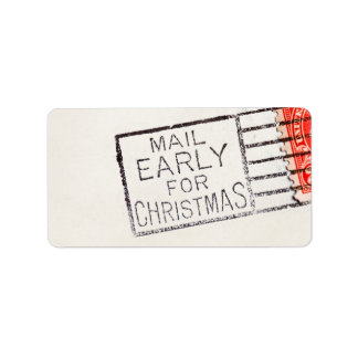 Vintage Mail Early For Christmas Cancelled Stamp Label