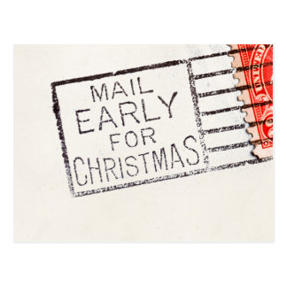 Vintage Mail Early For Christmas Cancelled Stamp Postcard