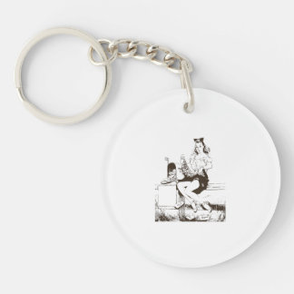 Vintage Mail Pin Up Girl Single-Sided Round Acrylic Key Ring