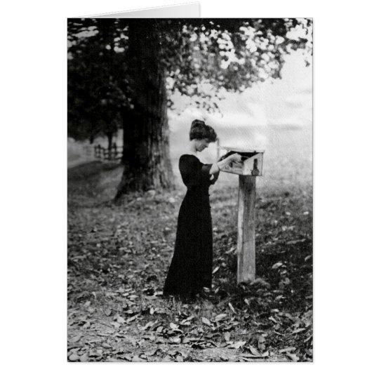 Vintage Mailbox Victorian Woman Card