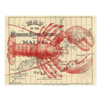 Vintage Maine Map with Lobster Postcard