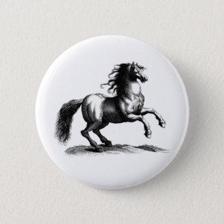 Vintage Majestic Horse Engraving 6 Cm Round Badge