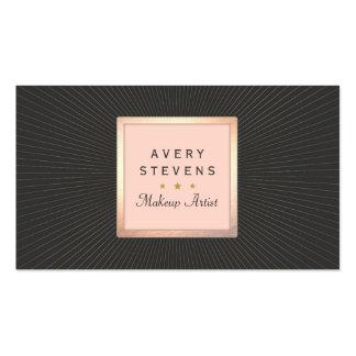 Vintage Makeup Artist Gold and Pink Sunburst Black Pack Of Standard Business Cards