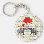 Vintage mammoths and hearts basic round button key ring