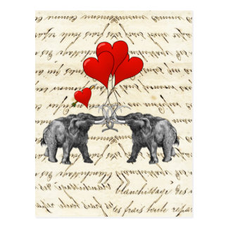 Vintage mammoths and hearts postcard
