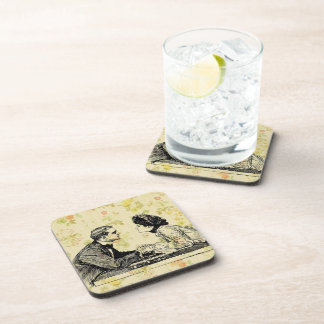Vintage Man And Woman Drink Coaster