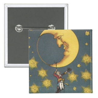 Vintage Man Hanging From the Moon 15 Cm Square Badge
