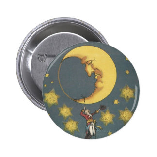 Vintage Man Hanging From the Moon 6 Cm Round Badge