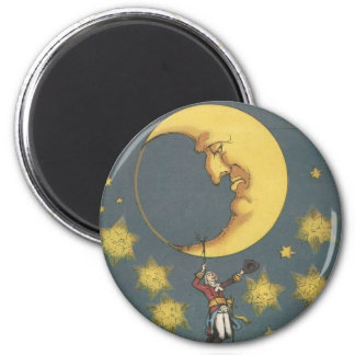Vintage Man Hanging From the Moon 6 Cm Round Magnet