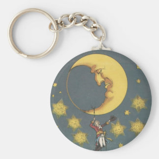 Vintage Man Hanging From the Moon Basic Round Button Key Ring