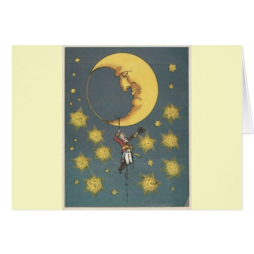 Vintage Man Hanging From the Moon Greeting Cards