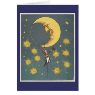 Vintage Man Hanging From the Moon Greeting Card