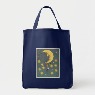 Vintage Man Hanging From the Moon Grocery Tote Bag