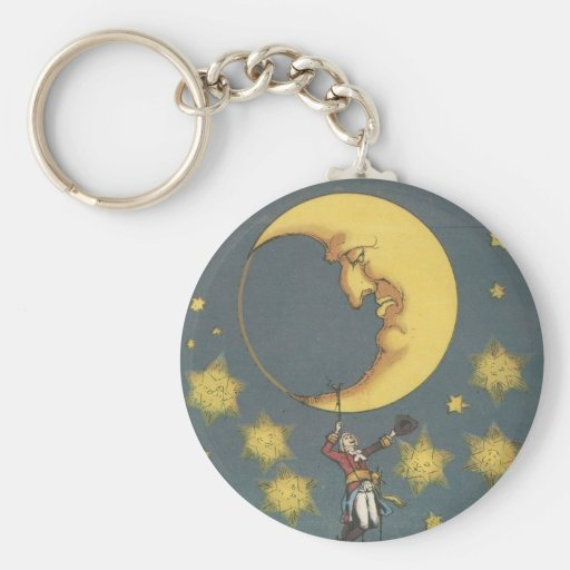 Vintage Man Hanging From the Moon Keychains