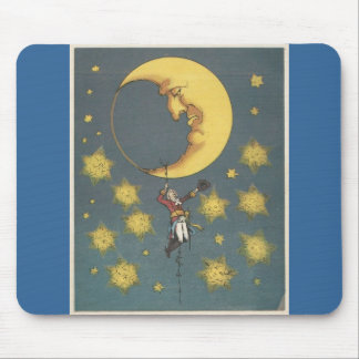 Vintage Man Hanging From the Moon Mouse Pads