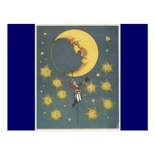Vintage Man Hanging From the Moon Postcards