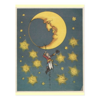 Vintage Man Hanging From the Moon Postcard
