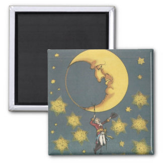 Vintage Man Hanging From the Moon Square Magnet