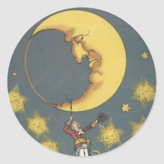 Vintage Man Hanging From the Moon Round Sticker