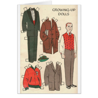 Vintage Man Paper Doll Card