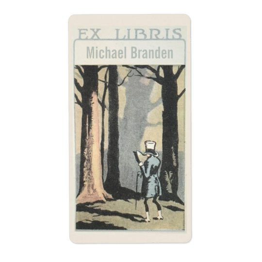 Vintage Man Reading In Woods Ex Libris Bookplate Shipping Label