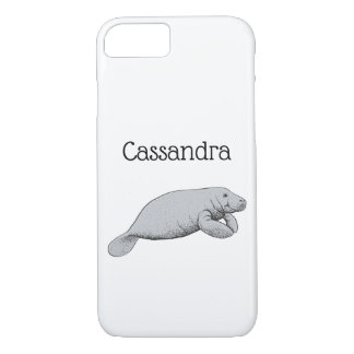 Vintage Manatee Drawing iPhone 8/7 Case