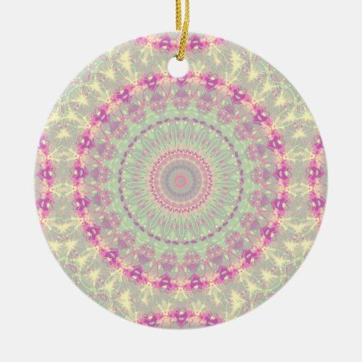 Vintage mandala pastel pattern christmas tree ornaments