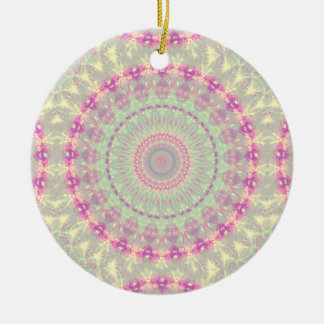Vintage mandala pastel pattern round ceramic decoration