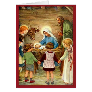 Vintage Manger Scene and Children 1930's Beautiful Card