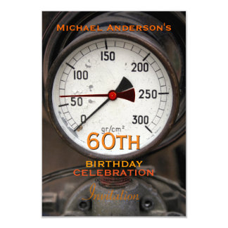 Vintage Manometer 60th Birthday Celebration 3.5x5 Paper Invitation Card