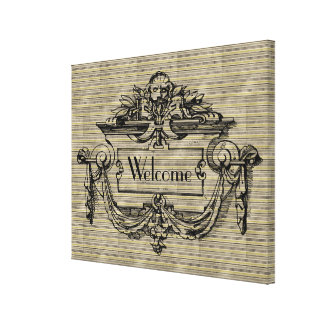 Vintage Mantle Welcome Canvas Print
