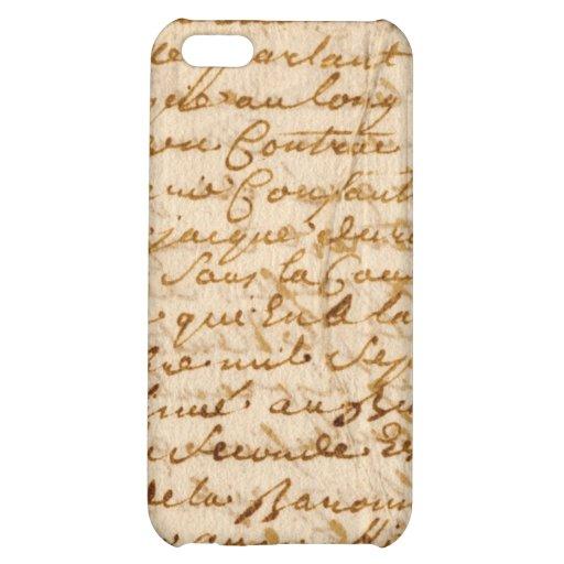 Vintage manuscript parchment cover for iPhone 5C