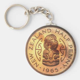 Vintage Maori Tiki Halfpenny Coin Keychains
