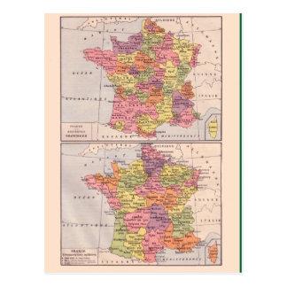 Vintage map, 1920, France Postcard