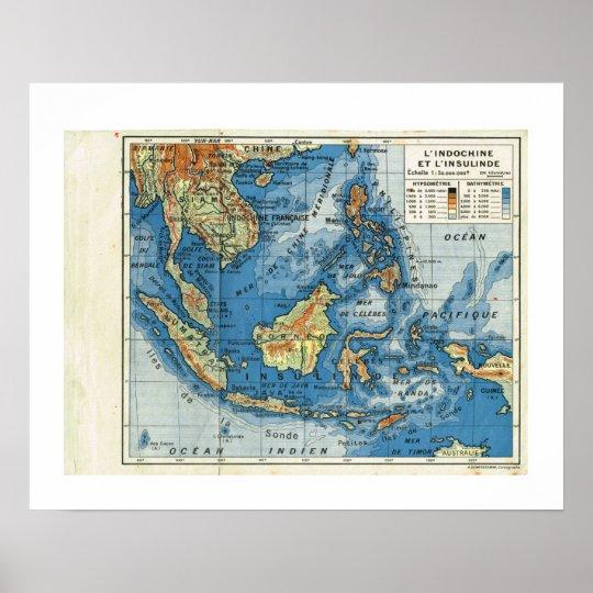 Vintage map, 1920, French,L'IndoChine et Insolinde Poster