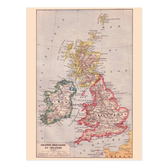 Vintage map, 1920, Great Britain and Ireland Postcard