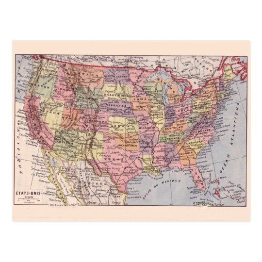 Vintage map, 1920, USA States Postcard