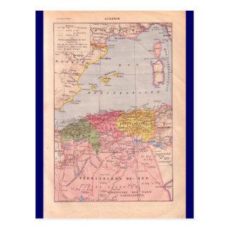 Vintage map, Algeria,  circa 1920 Postcard