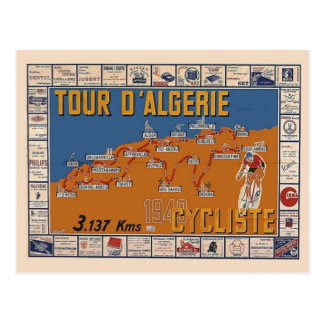 Vintage Map, Algeria Cycle race 1949 Post Cards