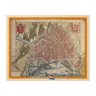 Vintage Map Amsterdam Holland Wood Wall Art