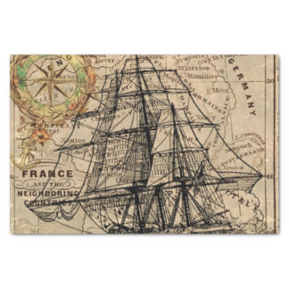 Vintage Map and Ship Tissue Paper