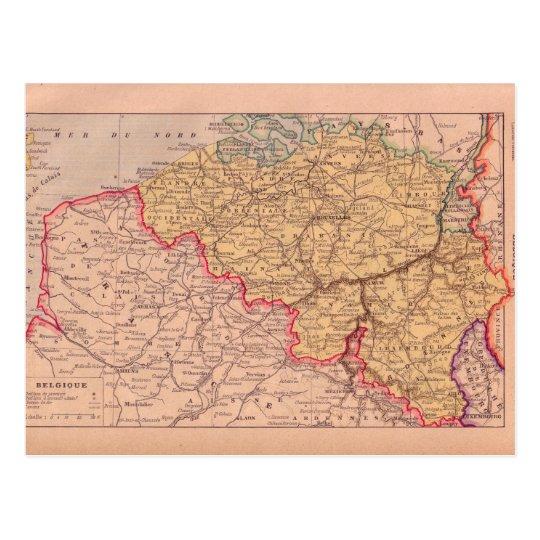 Vintage map, Belgium, circa 1920 Postcard