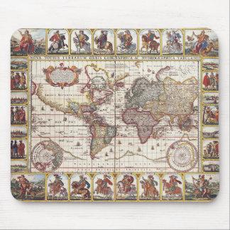 Vintage Map & Characters Claes Janszoon Visscher Mouse Pad