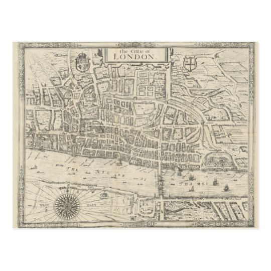 Vintage map city of London postcard