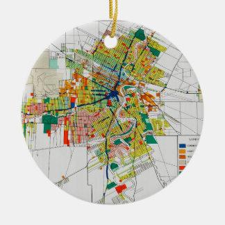 vintage map christmas tree ornament