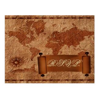 vintage map destination Wedding rsvp card Postcard