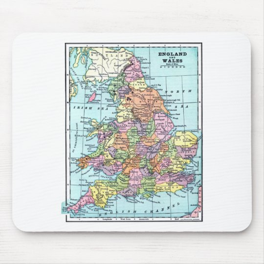 Vintage Map - England & Wales Mouse Mat