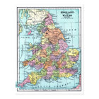 Vintage Map - England & Wales Postcard